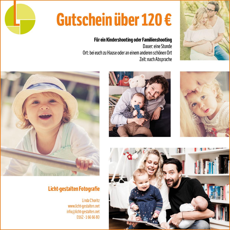 Weihnachts-Gutschein für ein Familien-Fotoshooting in Bremen oder Münster